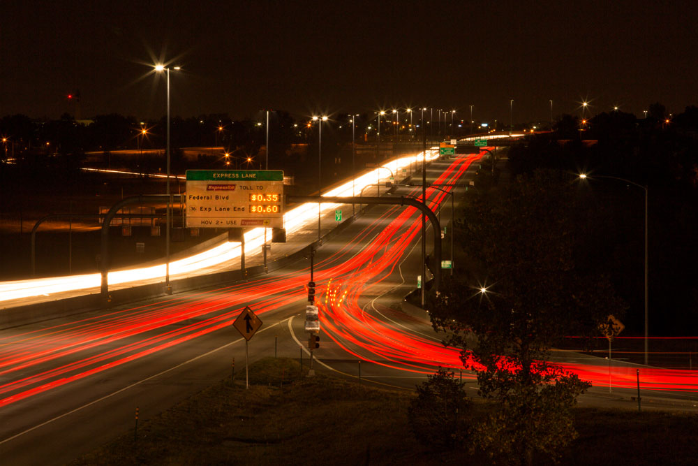 US Highway 36 Express Toll Lanes at Night | Plenary Roads Denver